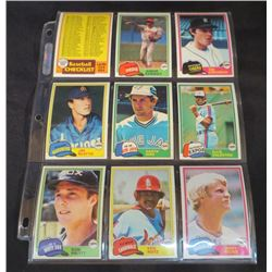 1981 Topps Baseball Lot Of 9 Cards