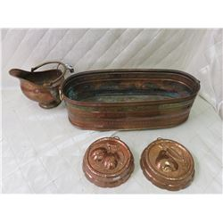 Copper Jug, Pan and Jelly Molds