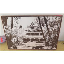 Framed Art: Vintage B&W Image Transfer on Wood, Block Frame, Palace Façade, 34.5 X 23.5