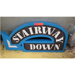 Stairway Down  Sign from Ward Warehouse, 28 X 14.5