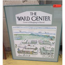 "Framed Art: ""The Ward Center"" Pen & Ink Print, Matted, Glass Frame, 27 X 31"