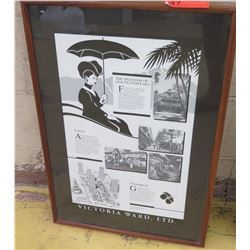 "Framed Art: Victoria Ward Ltd. B&W Print ""The Splendor of Our Yesteryears"", 18 X 26.5"