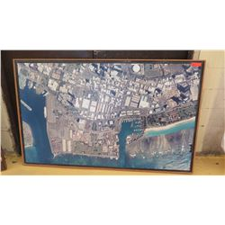 Framed: Vintage Aerial Photograph (Ward/Kakaako Area), 70 X 44