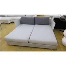 Lounger w/2 Backrest Pillows, Approx. 75.5  L, 70  Depth, White/Lt. Gray Woven Fabric