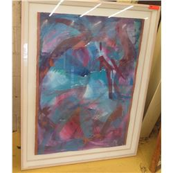 Framed Original Abstract Watercolor, Approx. 39  X 51  Shadowbox Glass Frame