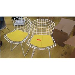 Qty 2 Knoll Modern Side Chairs - White w/Yellow Seat Pads, Seat 21  wide at widest section