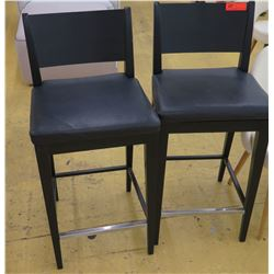 Qty 2 Black Bar-Height Chairs w/Leather Seats, Wooden Frame, Seat 18  Wide, some surface wear and te