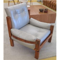 "Gray Leather Chair w/Wooden Frame, Leather Strap Accents, Approx. 32"" W, 25.5"" D. Surface of seat 15"