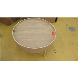 "Round Natural Wood Side Table w/Storage Compartment, 25.5"" Dia., 14.5"" H"