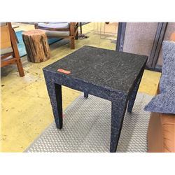 "Textured, Rock-Look Side Table, 22.5"" X 22.5"", 22"" H (one corner has slight damage, another corn"