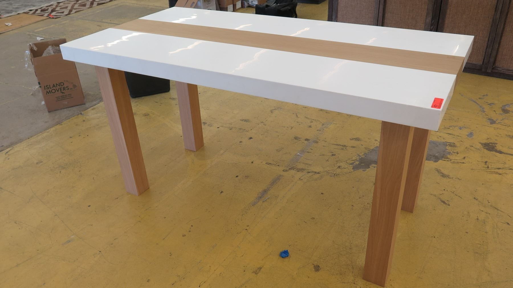 Image 1 : Tall Parsons Table   Natural Wood Legs, White Top, 6ft X ...