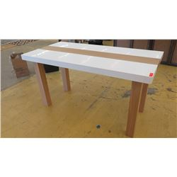 "Tall Parsons Table - Natural Wood Legs, White Top, 6ft X 3ft, 38"" Tall, minor damages  on leg and la"