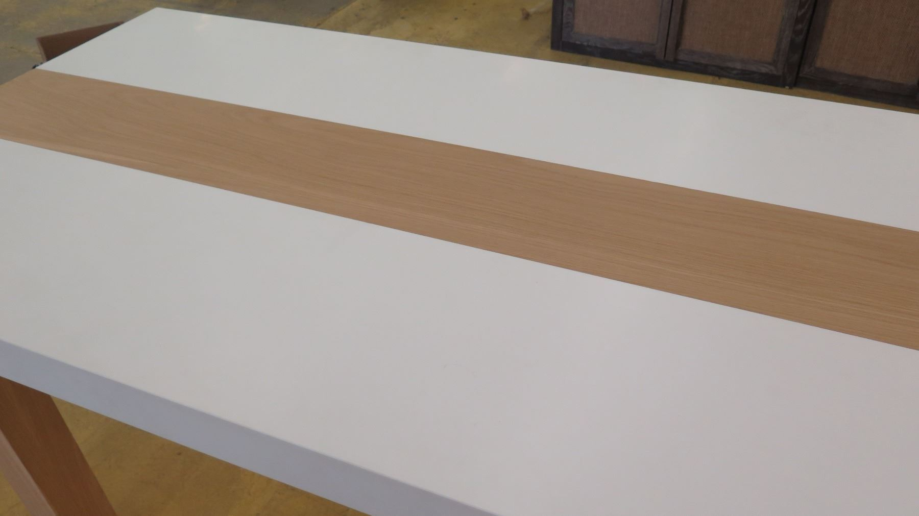 ... Image 3 : Tall Parsons Table   Natural Wood Legs, White Top, 6ft X ...