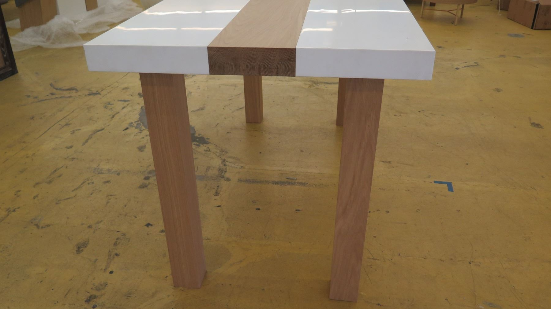 ... Image 5 : Tall Parsons Table   Natural Wood Legs, White Top, 6ft X ...