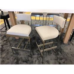 "Qty 2 Chairs w/Brushed Metal Frame, Slightly Lower Than Bar-Height, Seat Surface to Floor is 26"". Ov"