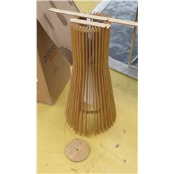 Contemporary Ceiling Pendant Lamp, Wooden Slats, 2ft Tall, Approx. 1 ft Dia., 1 Slat Broken But Repa