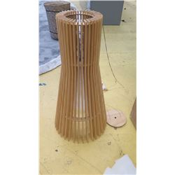 Contemporary Ceiling Pendant Lamp, Wooden Slats, 2ft Tall, Approx. 1 ft Dia.