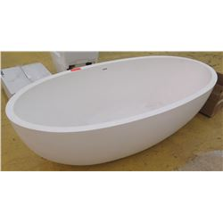 "Large Oval Freestanding Bathtub, Resin Composite?, 67"" L X, 31.5"" W, 19"" H"