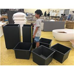 "6 Pieces: Metal Planters (2 Tall Ones are 19"" X 19"", 33.5"" H, Small Ones 15.5"" X 16"", 12.5"" H)"