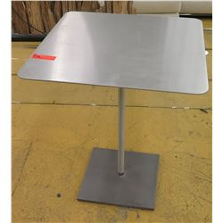 "Brushed Steel Square Table w/Square Base, 24"" X 24"", 30"" H"