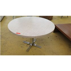 "Round Composite Table w/Mirrored Chrome Base, 4 ft. Dia., 31"" H"