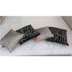 4 Small Accent Pillows (2 silver ones are Donna Karan)