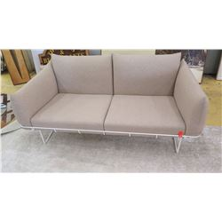 "Love Seat w/White Metal Frame, Tan, 62"" L, Seat Height 17"", All Cushions Removable"