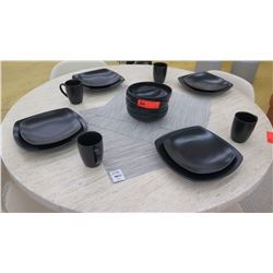 Set of 4 Black Ceramic Dishes, Salad Plates, Bowls, Mugs, 3 Placemats
