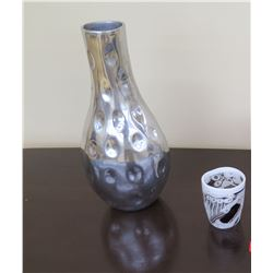 "Tall Cratered Aluminum Vase (15.5"" H), Small Hand-Blown Glass Vessel (over $200 retail)"