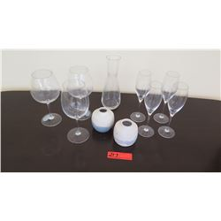 Qty 7 Stemmed Glasses, Glass Carafe, 2 Small White Ceramic Vases