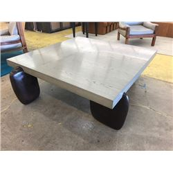 "Oversized Square Coffee Table, Gray Top, Metal Cast Legs, 52"" X 52"", 19"" H"