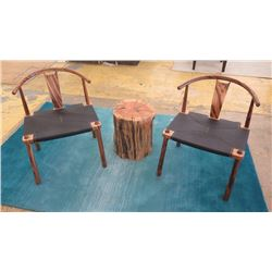 "Qty 2 Modern Chinese Horseshoe Chairs, Wood Frame, Leather Seat (seat 23""X18.5"").  Back height 30"" f"