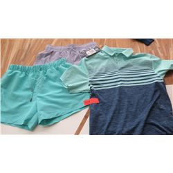 Men's Clothing w/Tags: 2 Athletic Shorts (sz 30 to 34), Golf Shirt (sz S)