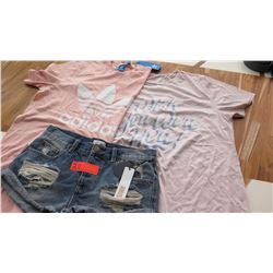 "Women's Clothing w/Tags: 2 Women's T-Shirts (sz M), ""Ripped"" Shorts (sz 26)"