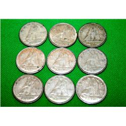 1968 CANADIAN SILVER 10 CENT LOT (9 COINS)