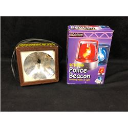 ROTATING POLICE BEACON (IN BOX) & VINTAGE STROBE LIGHT (WORKING)