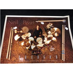 NEIL PEART MUSIC POSTER & VARIOUS DRUM STICKS LOT