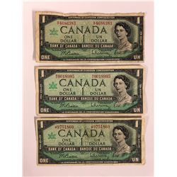 1967 CANADIAN ONE DOLLAR BANK NOTES LOT