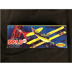 "WORLD WAR 1 SPAD XIII (1/4"") SCALE MODEL ALL PLASTIC ASSEMBLY KIT IN BOX"