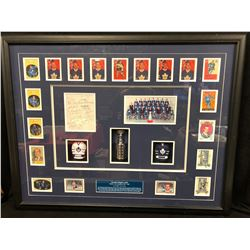 "1961-62 TORONTO MAPLE LEAFS 42"" X 32"" FRAMED HOCKEY CARD & PHOTO DISPLAY (AUTOGRAPHED INDEX CARD)"
