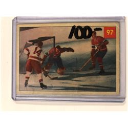 1953-54 Parkhurst Hockey Card #97 Jacques Plante/Butch Bouchard/Earl Reibel