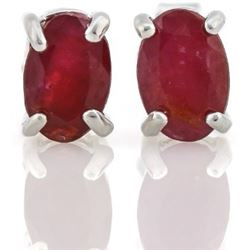 EARRINGS -  1.15  CTW OVAL FACETED GENUINE BURGANDY RUBY IN 925 STERLING SILVER SETTING - RETAIL EST