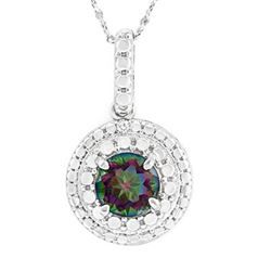 """NECKLACE - 1 CARAT ROUND FACETED MYSTIC GEMSTONE & DIAMOND IN 925 STERLING SILVER SET - INCLUDES 20"""""""