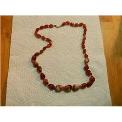 "BEADED NECKLACE - 26"" LONG  - REDISH"