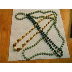 "BEADED NECKLACES - 2-24"" & 1-44"" LONG = 3 TTL"