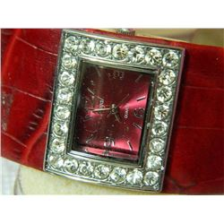 WATCH - REGAL - WITH RHINESTONES - RED STRAPS