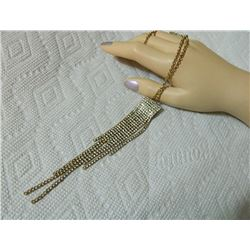 """NECKLACE - CRYSTAL & GOLD FRING DROP - """"ICING"""""""