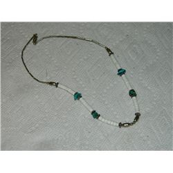 NECKLACE - NAVAHO - SILVER & TOURQUOISE