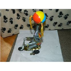 METAL WIND-UP TOY - ELEPHANT ON BIKE
