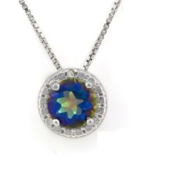 NECKLACE -  4/5 CARAT OCEAN MYSTIC GEMSTONE & DIAMOND IN 925 STERLING SILVER SETTING - INCLUDES 20""